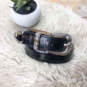 •BRIGHTON• Black Crocodile Embossed Leather Belt